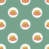 Vector Seamless pattern with colorful cups. seamless pattern background stock illustration