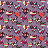 Vector seamless pattern with colorful doodle hearts Royalty Free Stock Photography
