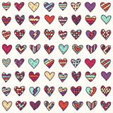 Vector seamless pattern with colorful doodle hearts Royalty Free Stock Images