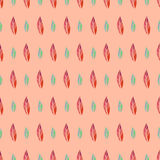 Vector seamless pattern with colorful doodle leaves Royalty Free Stock Image