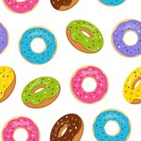 Vector seamless pattern with colorful glazed donuts. Sweet bakery with sprinkles on white background.  Royalty Free Stock Photos