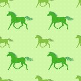 Vector seamless pattern with colorful green horses. On polka-dotted background Stock Image