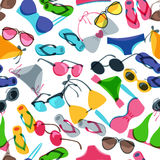 Vector seamless pattern with colorful hand drawn sunglasses, swimsuits and flip flops. Royalty Free Stock Photos