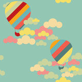 Vector seamless pattern with colorful hot air balloons on the sk Stock Photography