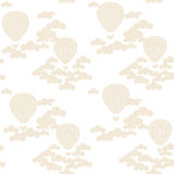 Vector seamless pattern with colorful hot air balloons on the sky Stock Image