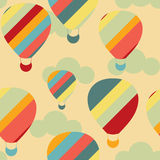 Vector seamless pattern with colorful hot air balloons on the sky Royalty Free Stock Images