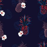 Vector seamless pattern with colorful pineapples and hibiscus flowers mixed with line ahnd drawn style design for fashion, fabric vector illustration