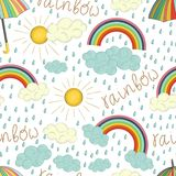 Vector seamless pattern of colorful rainbow royalty free illustration