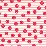 Vector seamless pattern with colorful red buttons on lined background. For thematic invitation, scrap paper, wallpaper stock illustration