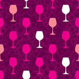 Vector seamless pattern with colorful silhouette of wineglass Royalty Free Stock Photography