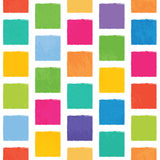 Vector seamless pattern with colorful squares with jagged edges. Royalty Free Stock Photography