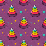 Vector seamless pattern with colorful toy pyramid for kids Royalty Free Stock Image