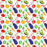 Vector seamless pattern with colorful vegetables. Cool modern background for web wallpapers, packaging, bag prints, textile, wrapping paper and digital Royalty Free Stock Photos