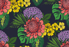 Vector seamless pattern with compositions of hand drawn tropical flowers. Palm leaves, jungle plants, paradise bouquet. Beautiful colorful floral endless Royalty Free Stock Image