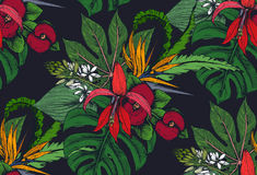 Vector seamless pattern with compositions of hand drawn tropical flowers. Palm leaves, jungle plants, paradise bouquet. Beautiful colorful floral endless Royalty Free Stock Images