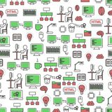 Computer programming vector flat line art seamless pattern. Vector seamless pattern with computer programming symbols, icons. Program coding background, wrapping Stock Image