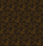 Vector seamless pattern with cones, mushrooms, berries and acorns. Autumn forest items background. Stock Photography