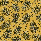 Vector seamless pattern with conifers branches stock illustration
