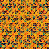Vector seamless pattern. Consists of geometric elements on yellow background. The elements have a triangular shape. Royalty Free Stock Photos
