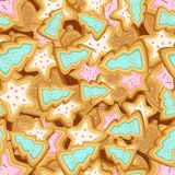 Vector seamless pattern of cookies in the form of Christmas trees and stars. Multilayer vector seamless pattern of cookies in the form of Christmas trees and Stock Photo