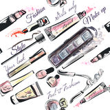 Vector seamless pattern from cosmetics in watercolor style stock illustration