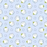 Vector seamless pattern with cotton plant on blue background. Perfect for wrapping paper or fabric vector illustration
