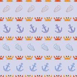 Vector seamless pattern with crabs, anchor, shell. Cartoon print. Vector illustration Royalty Free Stock Photo