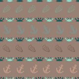 Vector seamless pattern with crabs, anchor, shell. The cover fabric, books. Vector seamless pattern with crabs, anchor, shell. The template for the cover fabric Stock Photos