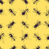 Vector seamless pattern with crawling bees Stock Photos