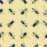 Vector seamless pattern with crawling bees Stock Images