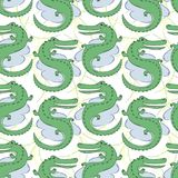 Vector seamless pattern with crocodiles. Hand-drawn winter illustration royalty free illustration