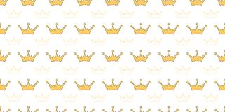 Vector seamless pattern with crowns of princess, queen, fairies. Cover templates for notepad Stock Photography