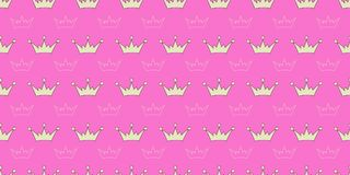 Vector seamless pattern with crowns of princess, queen, fairies. Print for textiles Stock Image