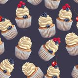 Vector seamless pattern of a crumbly, gentle wet biscuit cupcakes with a stunning soft air cheese cream, with juicy royalty free illustration