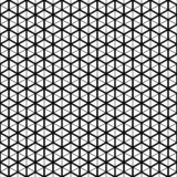 Vector seamless pattern. Cube grid texture. Black-and-white background. Monochrome line design. stock illustration