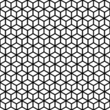 Vector seamless pattern. Cubes texture. Black-and-white background. Monochrome line cubic grid design. royalty free illustration