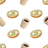 Vector seamless pattern with cup of coffee and plate of soup. Pattern seamless vector illustration. Concept background picture Royalty Free Stock Images