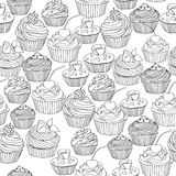 Vector seamless pattern with cupcakes, cute background. Stock Image