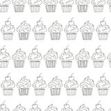 Vector seamless pattern cupcakes Stock Photos