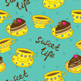 Vector seamless pattern with cups and cakes Royalty Free Stock Photos
