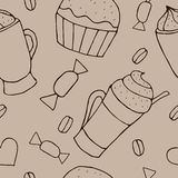 Vector seamless pattern with cups of coffee and cupcakes Stock Photos