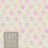 Vector seamless pattern with cups. Cute vector seamless pattern about tea, chocolate, coffee with pink cups vector illustration