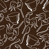 Vector seamless pattern with cups, spoons and candies Stock Photos