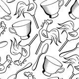 Vector seamless pattern with cups, spoons and candies Royalty Free Stock Image