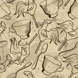 Vector seamless pattern with cups, spoons and candies Stock Photography
