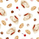 Seamless background with cups of tea, cookies and candies. Vector illustration. Royalty Free Stock Photo
