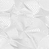 Vector seamless pattern, curved lines, 3D effect. Vector monochrome seamless pattern, curved lines, black & white layered texture. Abstract dynamical rippled Royalty Free Stock Photography