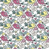 Vector seamless pattern with cute Teddy bears hearts and flowers. Happy Valentines day card. Vector seamless pattern with cute birds and hearts. Happy Stock Images