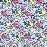 Vector seamless pattern with cute Teddy bears hearts and flowers. Happy Valentines day card. Vector seamless pattern with cute birds and hearts. Happy Stock Photography
