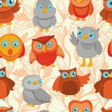 Vector seamless pattern with cute bright owls Stock Photography